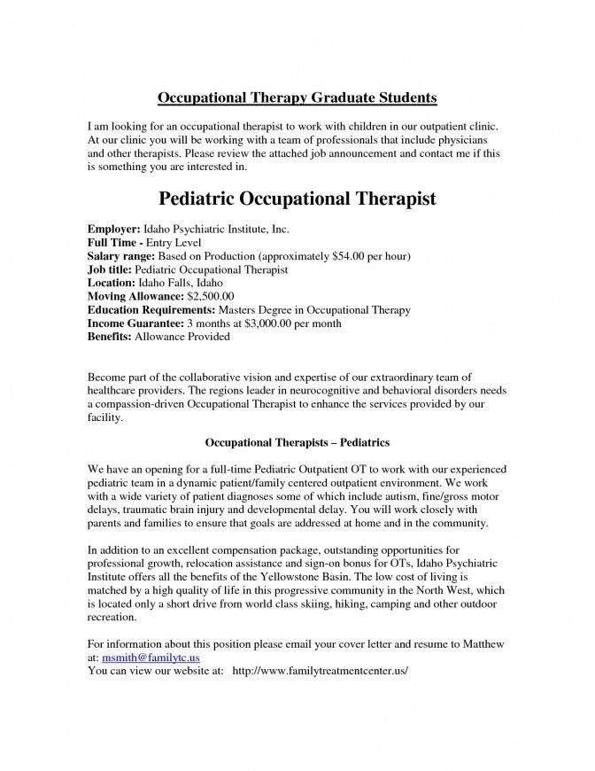 Physical Therapy Resume Template Pediatric Occupational Sample ...
