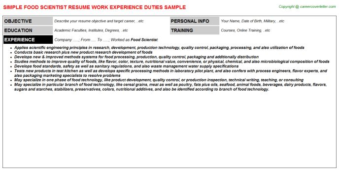 Food Scientist Job Title Docs