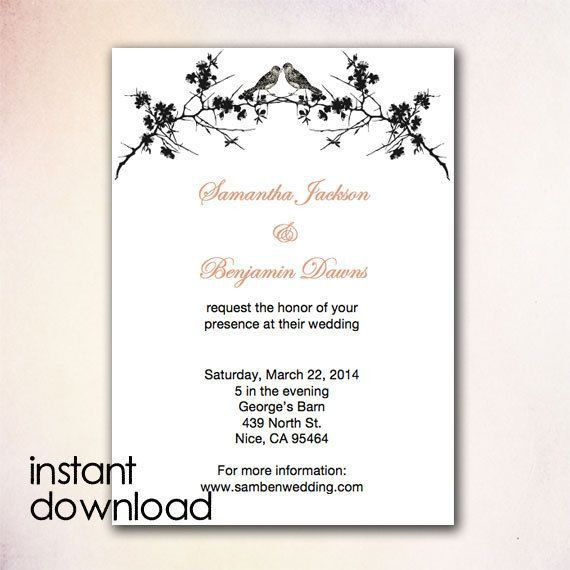 24 best DIY Wedding Invitation Templates - Instant Download images ...