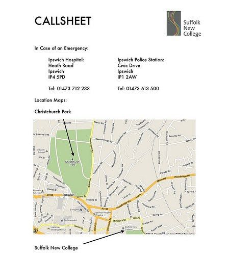 Ben Halliday's A2 Media Blog: Call Sheet for Pop Promo: Forest ...