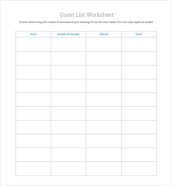 6+ Wedding Guest List Templates - Word Excel PDF Templates