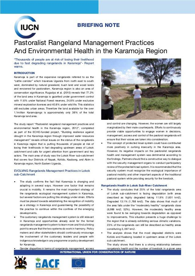 Policy Brief on Rangeland Management in Karamoja, Uganda