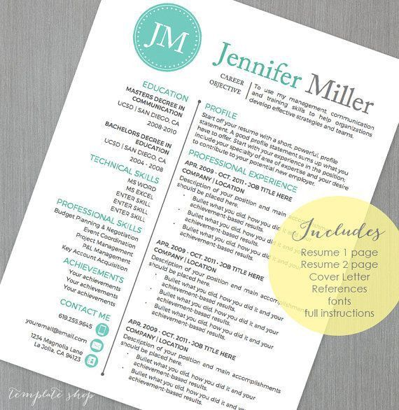 19 best Resume Templates images on Pinterest   Cover letter ...