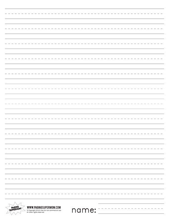 Printable Primary Lined Paper | Paging Supermom | Favorite Places ...