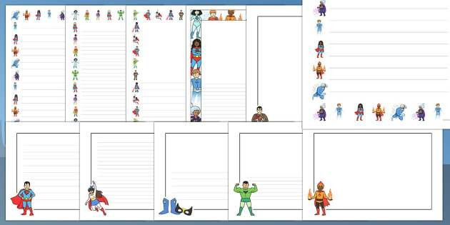Editable Superhero Page Borders Pack - editable, superhero