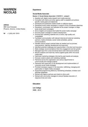 Social Media Associate Resume Sample | Velvet Jobs