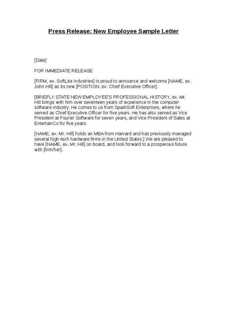 Sample welcome letter to new employee