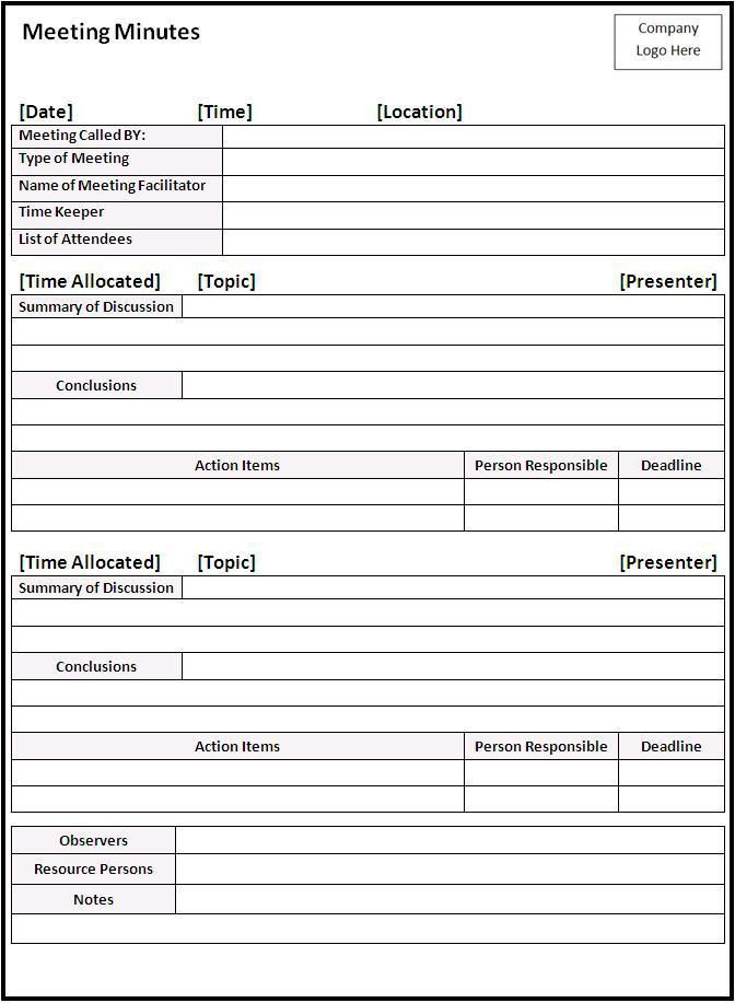 Mtg minutes template | PTSO Ideas | Pinterest