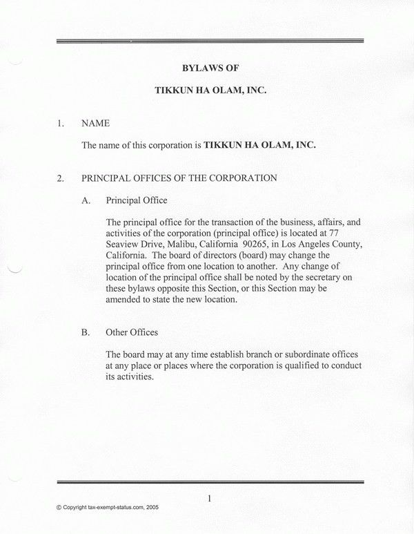 Corporate Bylaws Template Free | Coverletter.csat.co