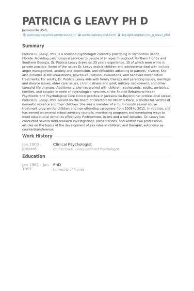 Clinical Psychologist CV Örneği - VisualCV Özgeçmiş Örnekleri ...