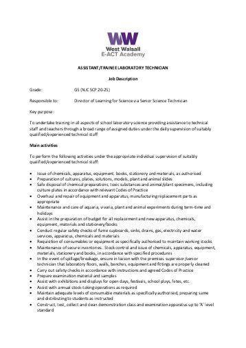 SURGICAL TECHNICIAN JOB DESCRIPTION Job Summary - Fastaff