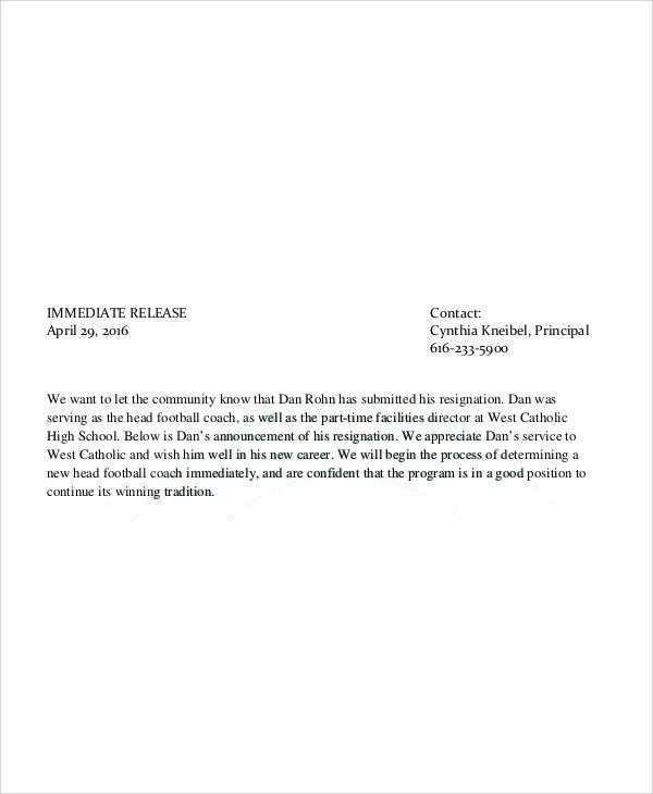 8+ Coach Resignation Letters - Free Sample, Example Format ...
