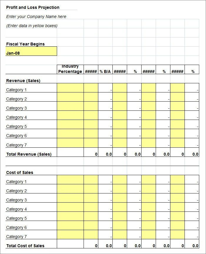Profit and Loss Statement Template with Blue Table and Blank ...