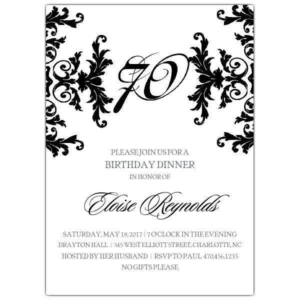 15+ 70th Birthday Invitations Design and Theme Ideas | Birthday ...