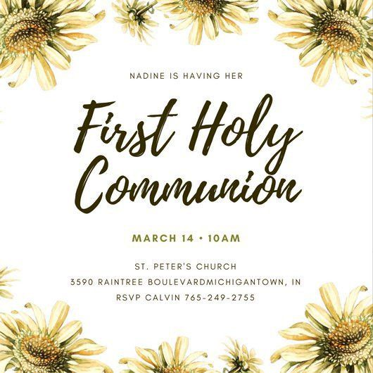 Cream Daisy Flower First Communion Invitation - Templates by Canva