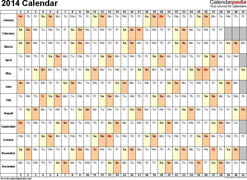 2014 Calendar Excel - 13 free printable templates (.xls)
