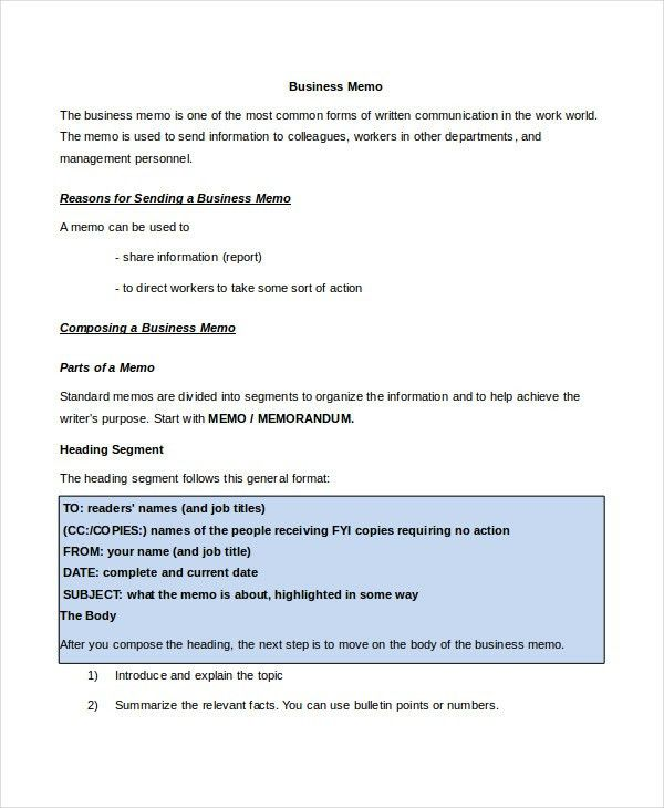 Memo Format - 15+ Free Word, PDF Documents Download | Free ...