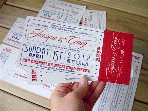 movie ticket wedding invitations | Movie ticket theme wedding ...