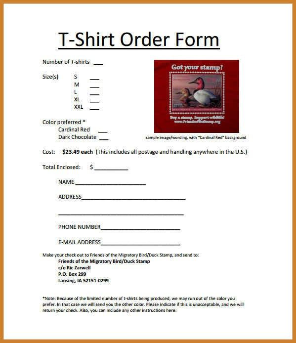 t shirt order form template | notary letter