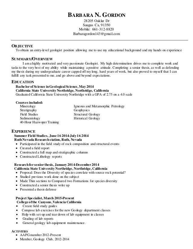 geologist resume geologist resume samples visualcv resume samples