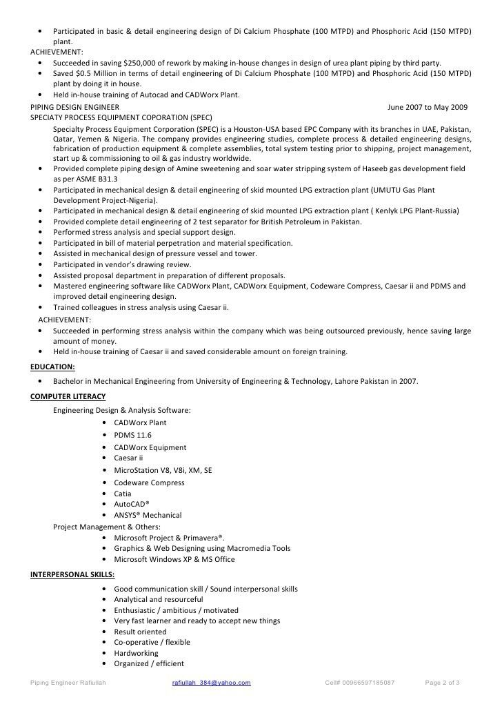 piping cv resumes resume templates pdms piping designer position ...