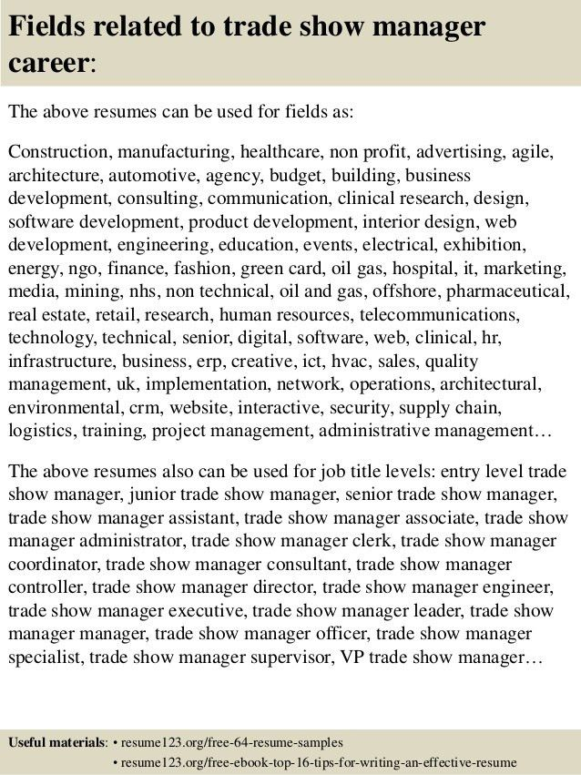 Top 8 trade show manager resume samples