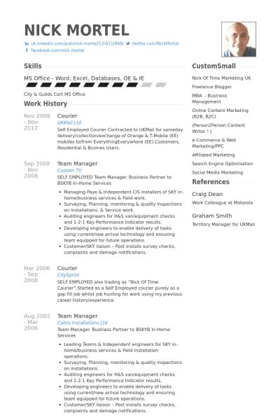 Courier Resume samples - VisualCV resume samples database