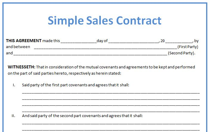 Simple Business Contract Example for Sales with Blank Agreement ...