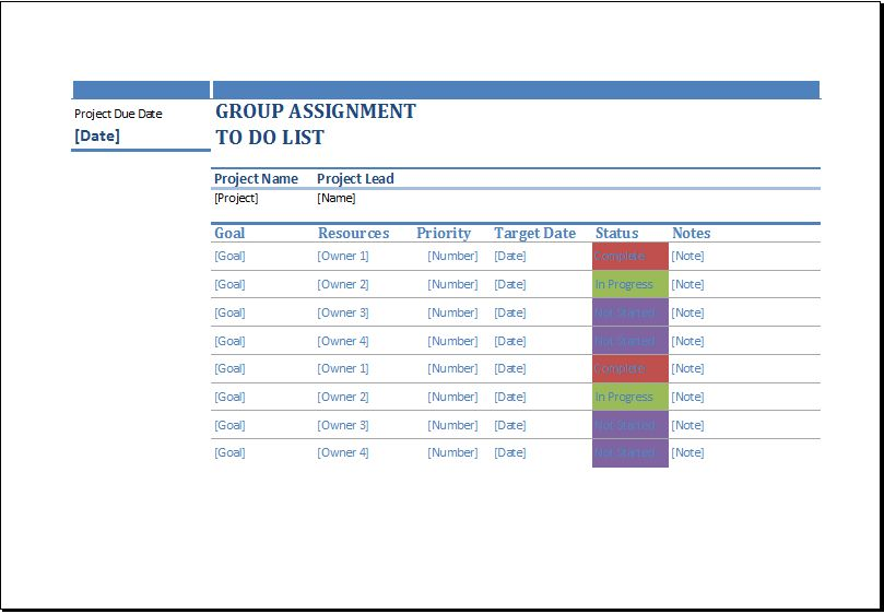 Group Assignment to do List Template for Excel | Word Document ...