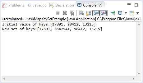Java HashMap keySet() method example
