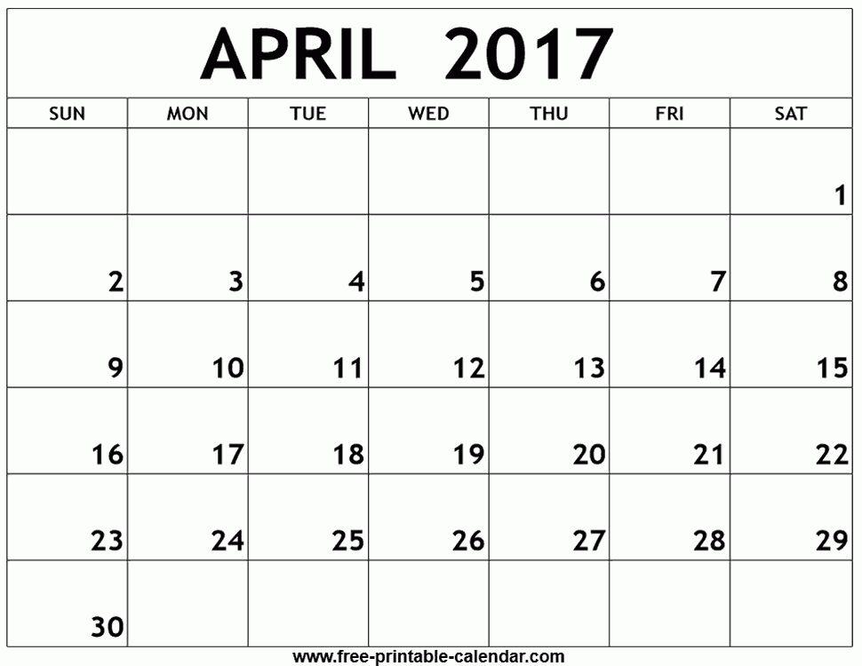 April 2017 calendar template - Free-printable-calendar.com