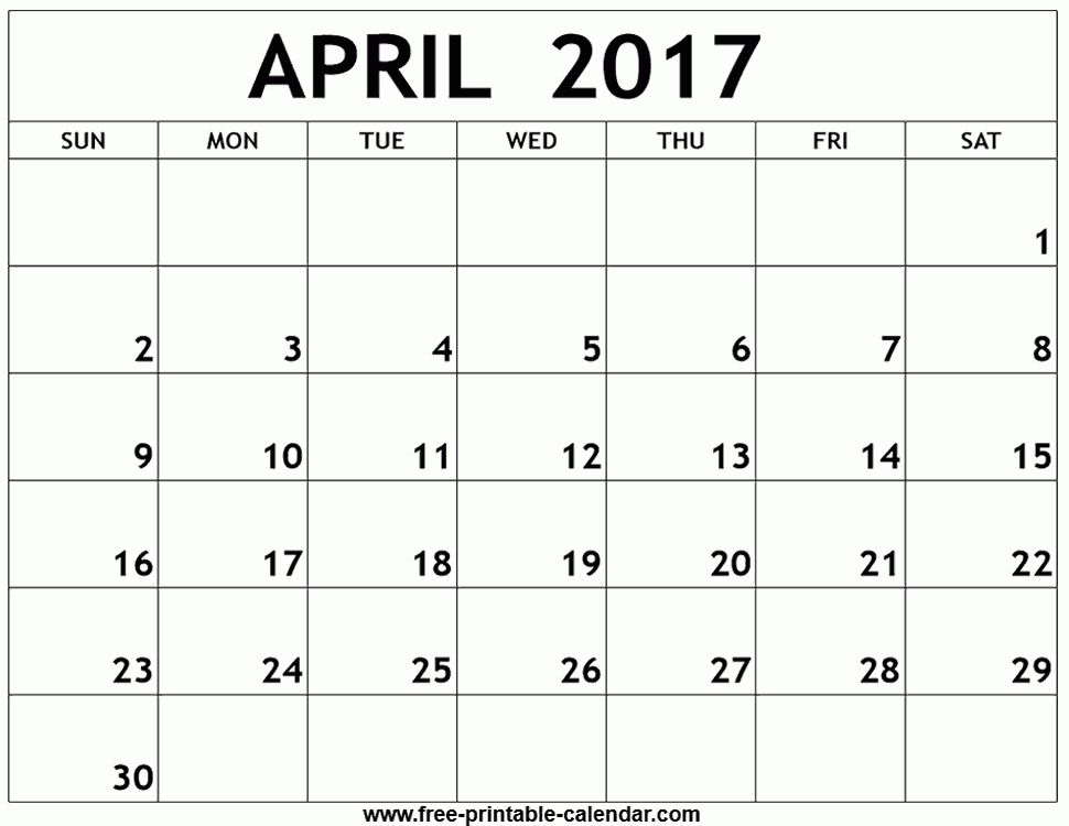 April Calendar Templates For 2017 | Calendar Templates