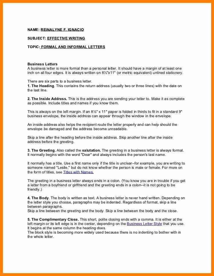 7+ format of formal and informal letter | buyer resume