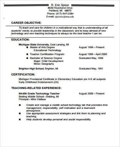 teacher resume objective sample best 10 career objectives for