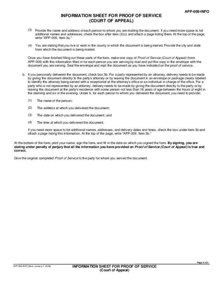 APP-009-INFO Proof of Service (Court of Appeal) Free Download