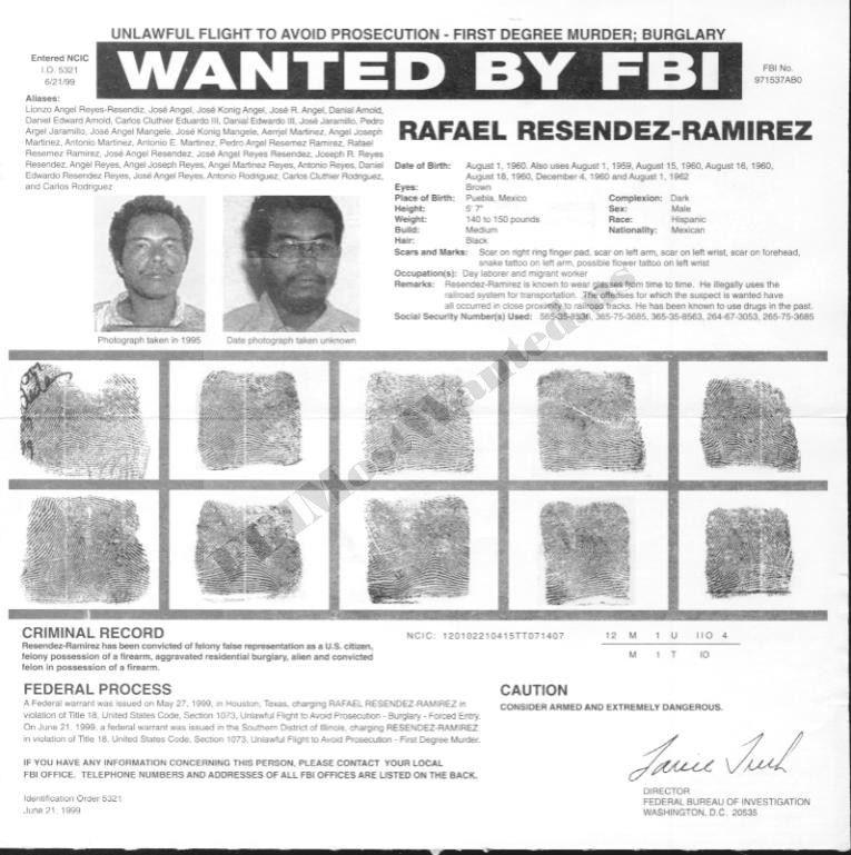 Image - Resendiz's FBI wanted poster.jpg | Criminal Minds Wiki ...