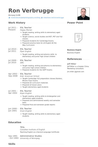 Esl Teacher Resume samples - VisualCV resume samples database
