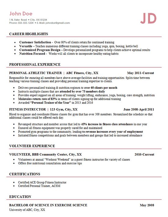 Athletic Trainer Resume Example - Fitness Management