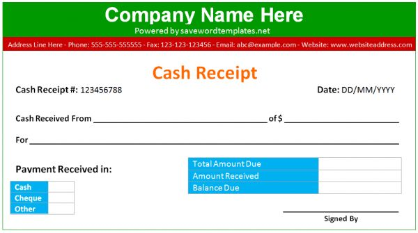Printable Cash Receipt Template Word Format | WordXerox