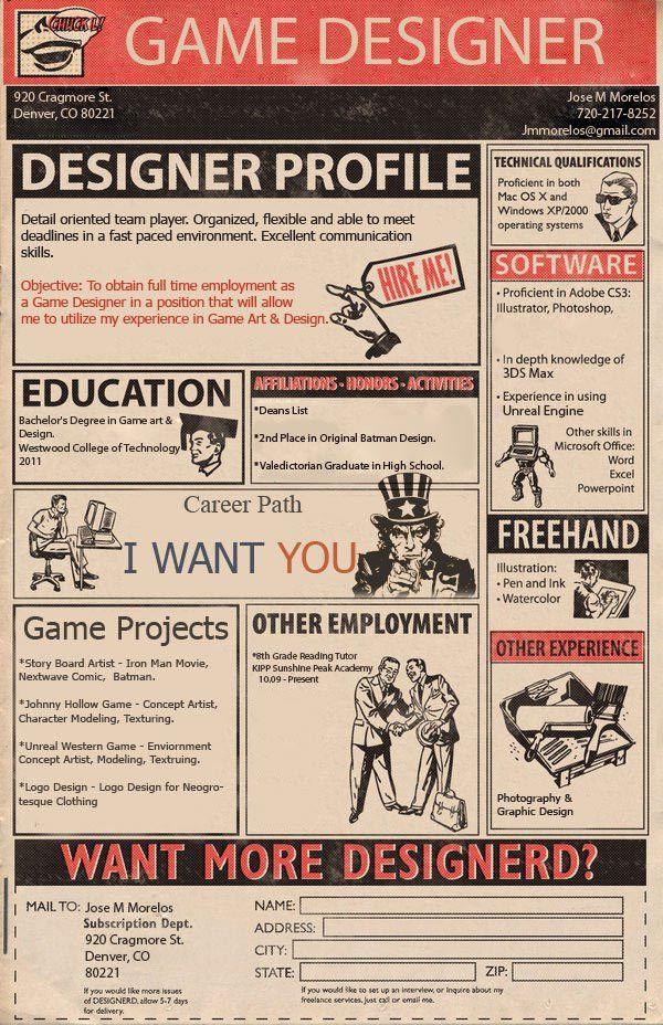 game-designer-CV | Cool CV | Pinterest | Graphic design ...