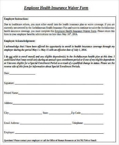 Sample Employee Waiver Forms - 9+ Free Documents in Word, PDF