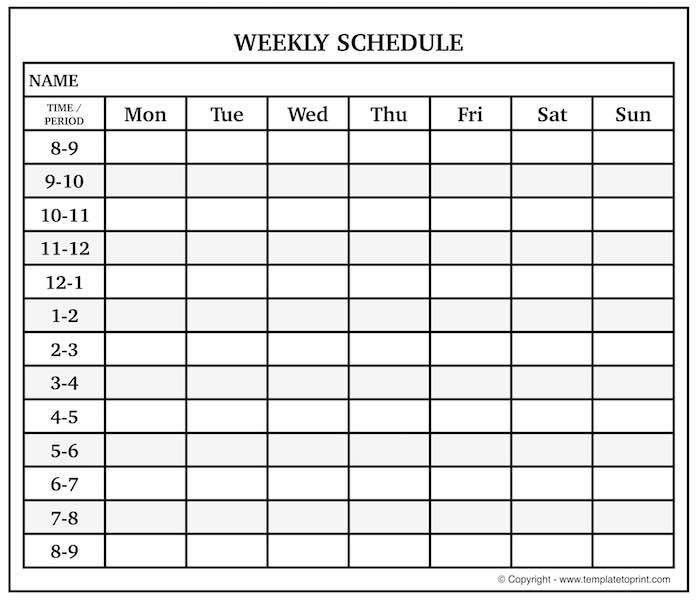 Printable Blank Weekly Calendar Template with Time Slots | Excel | PDF