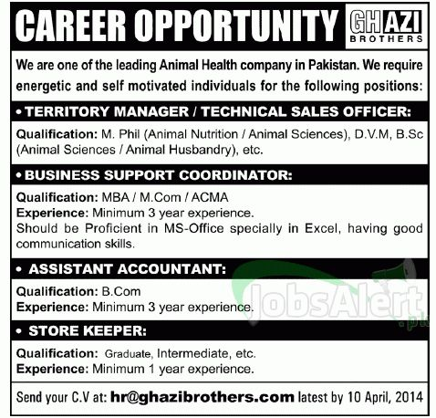 Manager & Assistant Accountant Jobs in Ghazi Brothers Pakistan