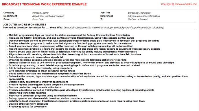 Broadcast Technician CV Work Experience