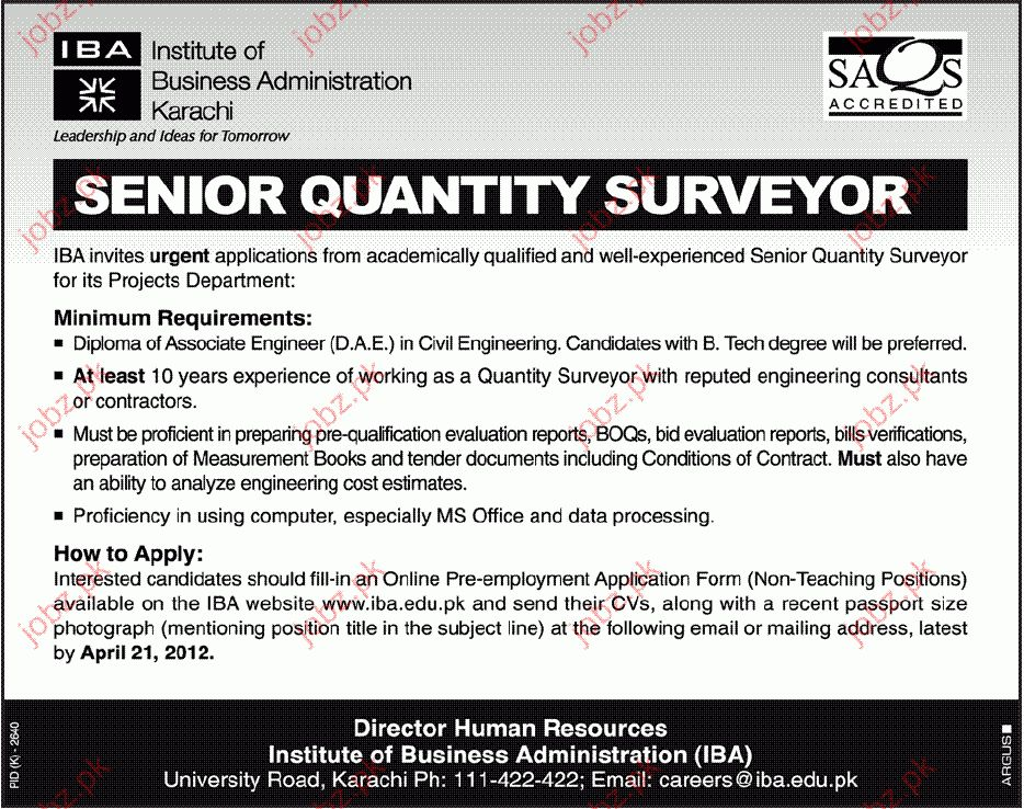 Senior Quantity Surveyor Job Opportunity 2017 Jobs Pakistan Jobz.pk