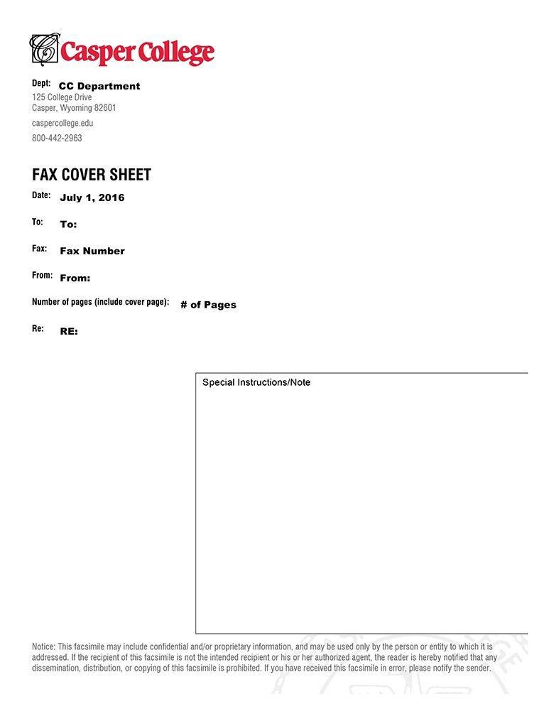 Fax cover sheet | Casper College