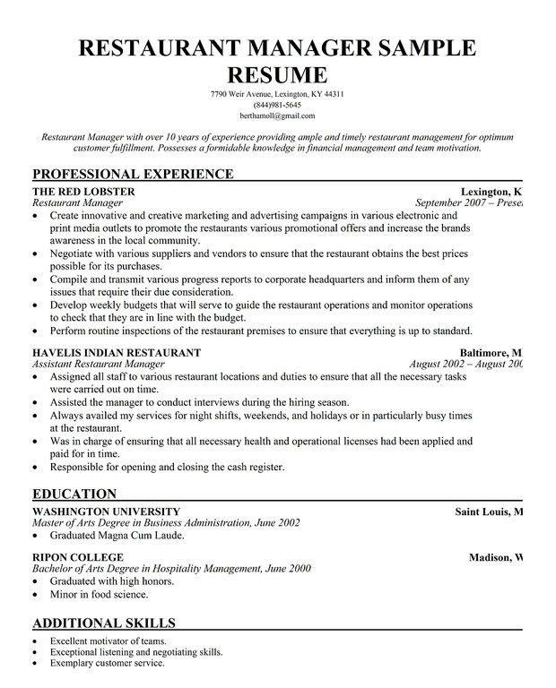 Download Resume For Restaurant Manager | haadyaooverbayresort.com