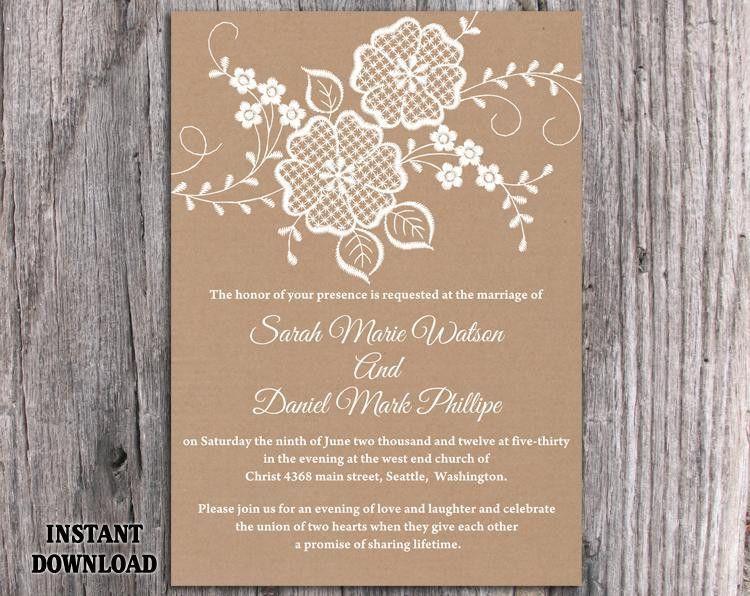 DIY Lace Wedding Invitation Template Editable Word File Download ...