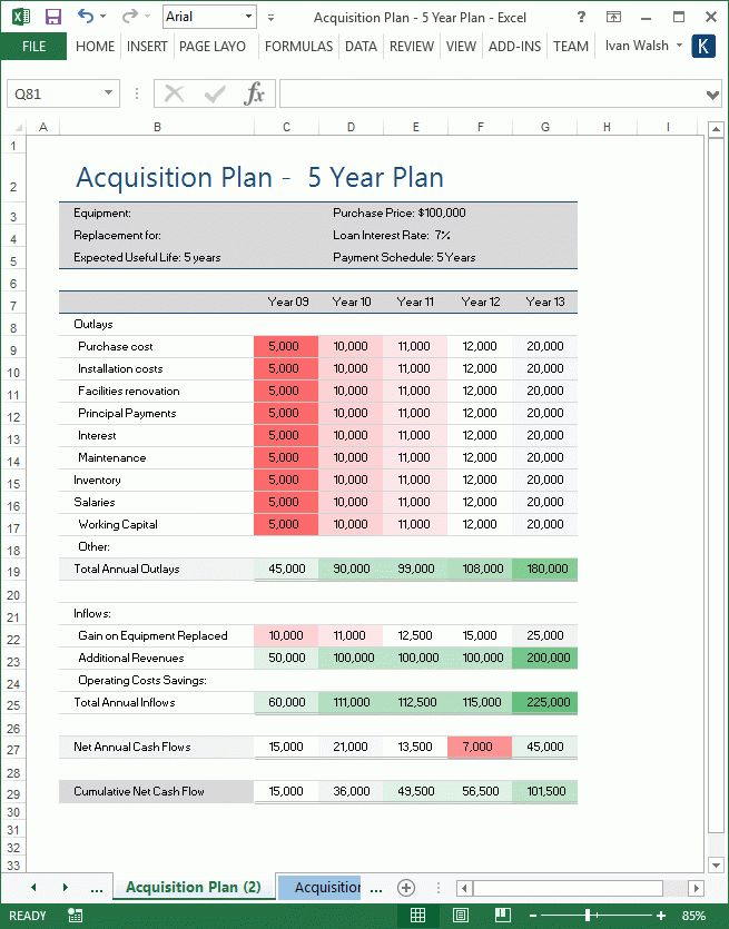 Acquisition Plan Template - MS Word & Excel