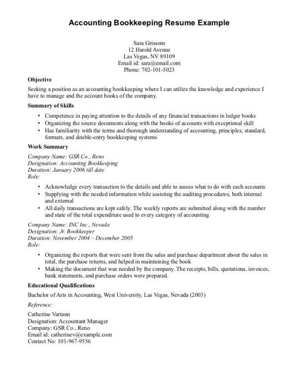 Interesting Accounting Bookkeeping Resume Sample for Bookkeeper ...